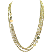 Beautiful Vintage 60 Inch Long Three Chain Necklace