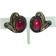 Stunning Vintage Sterling Silver Signed Taxco Mexico Dragons Breath Jelly Opal Screw Back Earrings