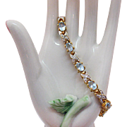Gorgeous Sterling Silver Gold Vermeil Blue Topaz Signed PAJ Vintage Bracelet