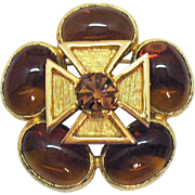 Signed Benedikt Vintage Gripoix Glass Maltese Cross Brooch