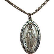 Signed Chapel Sterling Silver Vintage Miraculous Mary Pendant on Stainless Steel Chain Original Box