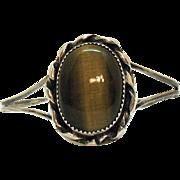 Large Tigers Eye Sterling Silver Vintage Cuff Bracelet