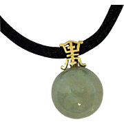 Gorgeous 14K Asian Jade Bead Vintage Pendant on Black Silk Rope