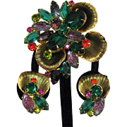 Spectacular Juliana D&E DeLizza & Elster Vintage Brooch Clip Earrings Set