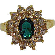 Beautiful Vintage Costume Jewelry Cubic Zirconia Clear Emerald Cocktail Ring