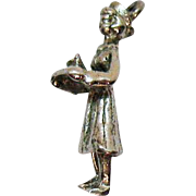 Sterling Silver 1940s 3D Vintage Nurse in Uniform Charm Holding Tray