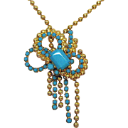 Juliana D&E Delizza Ester Unusual Vintage Glass Turquoise Ball Chain Necklace