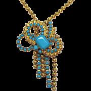 Juliana D&E Delizza Ester Unusual Vintage Glass Turquoise Ball Chain Necklace
