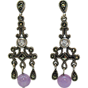 Stunning Vintage Pierced Earrings Sterling Silver Marcasite Lavender Jade Bead CZ