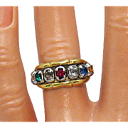 Signed Vargas Vintage Glass Gemstone Sterling Silver Vermeil Band Ring