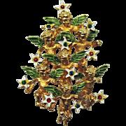 Unusual Vintage 3D Angel Christmas Tree Brooch Rhinestones Enameling