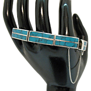 High End Sterling Silver Turquoise Inlay Vintage Link Bracelet