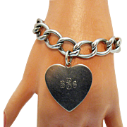 Rare Signed HSB Hans Saugmann Bjerregoard of Denmark Stylized Hand Crafted Sterling Silver Charm Bracelet Heart