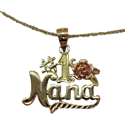Italian 14K Gold Vintage Necklace #1 NANA Pendant Rose Gold and Yellow Gold
