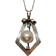 Stunning 14K White Gold Pearl Diamond Pendant Necklace Designer Signed Costa