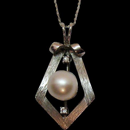 Stunning 14K White Gold Pearl Diamond Pendant Necklace Designer Signed Costa