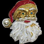Vintage Christmas Enameled Santa Claus Faux Pearl Brooch