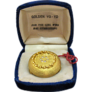 Hard to Find Vintage Golden Rhinestone Yo-Yo For The Girl Who Has Everything Working Condition