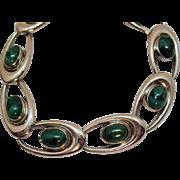 Signed WRE Richards Company Vintage Sterling Silver Malachite Mid Century Moderne Bracelet