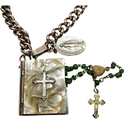 Unique Vintage MOP Rosary Box Stainless Steel with Italian Miniature Rosary