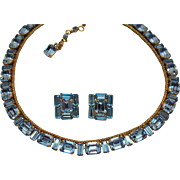 Stunning Vintage Signed Austria Necklace Earrings Set Blue Rhinestone Emerald Baguette