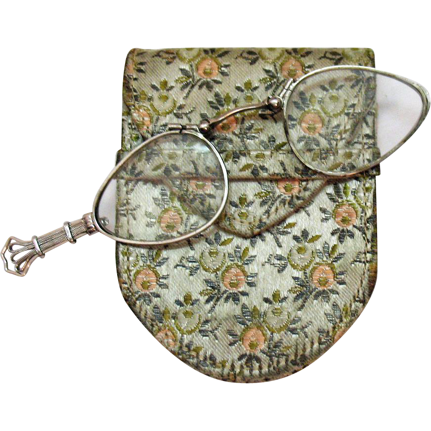 Art Deco Signed Frank Krementz Vintage Lorgnette Opera Magnify Glass in Sterling Silver French Silk Holder