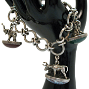 Unique Vintage Sterling Silver 3D Figural Charm Bracelet 81.9 Grams Elephant Puppy Bull
