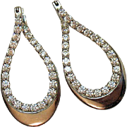 Captivating Sterling Silver Signed FE Vintage Cubic Zirconia Pierced Earrings