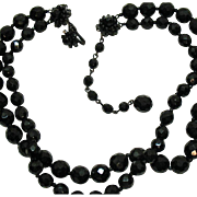 Superb Signed Miriam Haskell Vintage Two Strand Black Faceted Glass Beaded Necklace