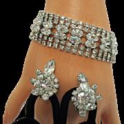 Unsigned Eisenberg Take My Breath Away Marquis Rhinestone Rhodium Bracelet Earrings Set