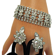 Vintage Eisenberg Take My Breath Away Marquis Rhinestone Rhodium Bracelet Earrings Set