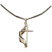 Signed PC Sterling Silver Mid Century Moderne Vintage Draped Cross Pendant Necklace