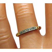 Dainty Antique 14K Gold Diamond Band Ring with Roses