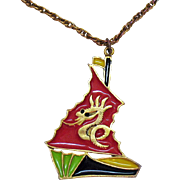 Unique Vintage Enameled Pirate Ship Dragon Mast Pendant Necklace