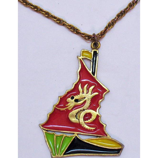 Unique Vintage Enameled Pirate Ship Dragon Mast Pendant Necklace