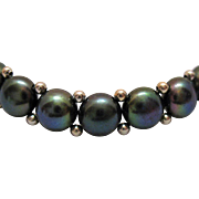 Vintage Honora Tahitian Coin Cultured Pearl Stretch Bracelet Sterling Beads