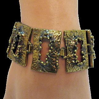 Signed Finland Owe Johansson Vintage Brutalist Volcano Design Bronze Bracelet