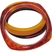 Vintage Bakelite Butterscotch Marbled Bangle Bracelet Set of 3