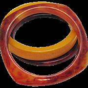 Vintage Bakelite Butterscotch Marbled Bangle Bracelet Set of 3