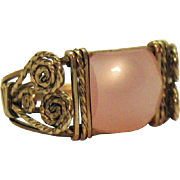 Hand Crafted 8K Gold Wire Wrapped Pink Moonstone Ring