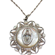 Unusual Signed B David Vintage Sterling Silver MOP Marcasite Miraculous Mary Pendant Necklace