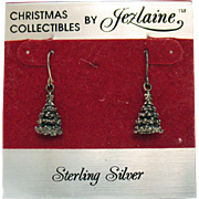 Vintage Sterling Silver Christmas Collectibles By Jezlaine Pierced Earrings Christmas Trees