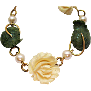 Gorgeous Signed Krementz Vintage Carved White Coral Jade Cultured Pearl Bracelet