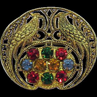 Unique Vintage Peacock Rhinestone Golden Filigree Brooch