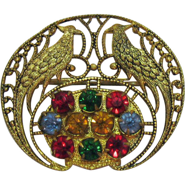 Unique Vintage Peacock Rhinestone Golden Filigree Brooch