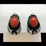 Signed Tom Morgan Navajo Native American Indian Vintage Sterling Silver Coral Clip Earrings