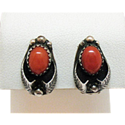 Signed Tom Morgan Navajo Native American Indian Vintage Sterling Silver Coral Clip Earrings