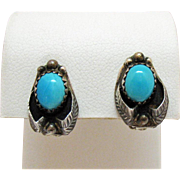 Signed Tom Morgan Navajo Native American Indian Vintage Sterling Silver Turquoise Clip Earrings