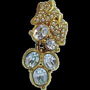 Amazing Signed Monet Vintage Rhinestone Waterfall Dangle Pierced Earrings