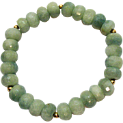 Gorgeous Vintage Faceted 9mm Jade Sterling Silver Beaded Stretch Bracelet